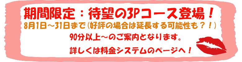 8月のキャンペーン!3Pコース!